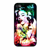 Marilyn Monroe Tattooed Flower With Pistol Gun Collage iPhone 4s Case