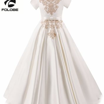 New Elegant Gold Appliques Satin Lace Pleated A-line Flower Girls Dresses for Wedding First Communion Prom Dresses for Girls