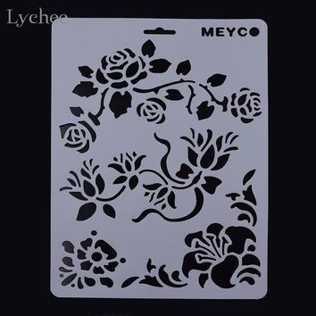 DIY Layering Stencil Masking Spray Template Scrapbooking Stamp Album Decorative Embossing Paper Card Craft Rose Vine