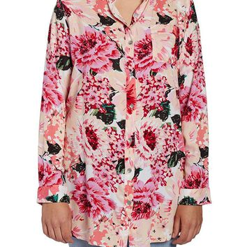 Jag Jeans Magnolia Tunic in Rayon Print - Pink Poppies