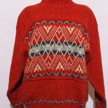 vintage 80s sweater / 1980s oversize sweater / nordic pullover / red wool turtleneck / scandinavian sweater / size medium to large / K18