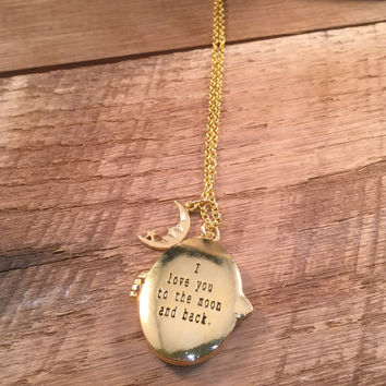 I Love You Locket, I Love You Necklace, Gold Locket, Locket Necklace, Quote Necklace, Engraved Locket, I Love You to the Moon and Back Charm