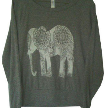 Paisley Elephant Screen Print Top Long Sleeve American Alternative Apparel S M L XL 8 Colors Women