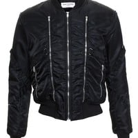 Zip Embellished Bomber Jacket - SAINT LAURENT