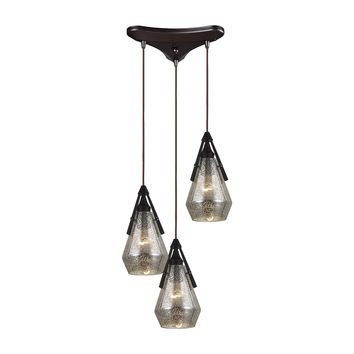 46172/3 Duncan 3 Light Pendant In Oil Rubbed Bronze And Antique Mercury Glass - Free Shipping!