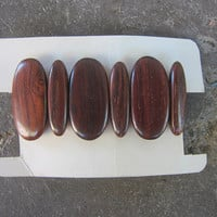 Rosewood Bracelet Exotic Wood Stretchy Cuff Bracelet Vintage Hippie Boho 1970s 80s Costume Jewelry