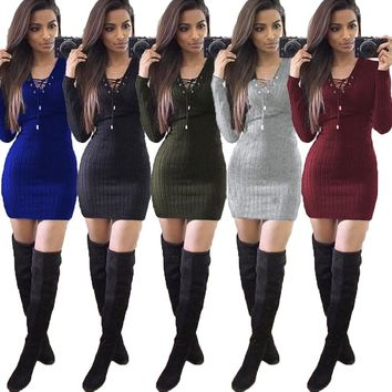 Christmas Warm kint dress 2016 Women Winter Long Sleeve bandage Jumper Tops High Quality Knitted Sweater Loose Tunic Dresses