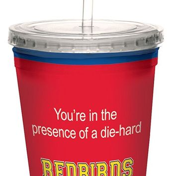 Tree-Free Greetings cc34737 Redbirds College Basketball Artful Traveler Double-Walled Cool Cup with Reusable Straw, 16-Ounce