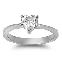 Elegant Stainless Steel Engagement Promise Ring with Clear Heart CZ