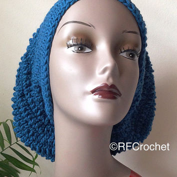 Turquoise Slouchy Beanie | Adult Crochet Beanie | SOFT | Bad Hair Day | Blue Beanie | Unisex | Long Hair | Dreadlocks | Braids