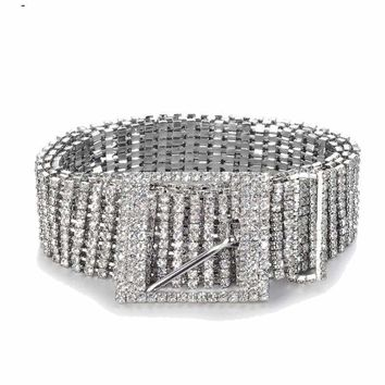 Wide Crystal Chain Rhinestone Waist Women's Belt