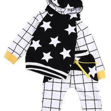 Toddler Kids Baby Boy Girl Star Long Sleeve Hooded Sweatshirts+Long Plaid Pants 2pcs Outfits Set