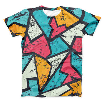 The Blue, Orange and Red Zig Zags ink-Fuzed Unisex All Over Full-Printed Fitted Tee Shirt
