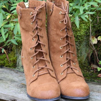 Winding Road Distressed Rust Fold Over Lace Up Heeled Ankle Booties