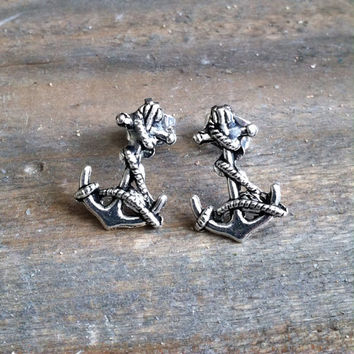 Silver Tone Anchor Earrings - Anchor Stud Earrings - Silverplated Stud Earrings, Anchor Post Earrings - Nautical Stud earrings