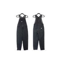 80s Guess Jean Overalls Vintage Black Denim Tapered Leg Bib Front 90s Grunge Hip Hop Clothing Triangle Patch