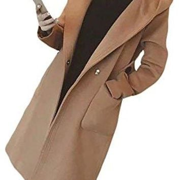 Pandapang Womens Classic Autumn Wool Blend Hoodie Trench Coat Outwear