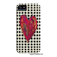 Polka Dots, Heart iPhone Case, iPhone 5 case, iPhone 5C case, Funky, Abstract, Art, iPhone cases, by Ingrid Padilla, iPhone 5S case