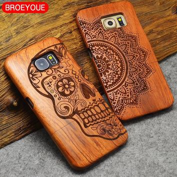 BROEYOUE For Samsung Galaxy S5 S7 S6 S8 Edge Plus Note 7 5 4 3 Wood Case For iPhone 5 5S 7 6 6S 8 X Plus  Bamboo Carving Case