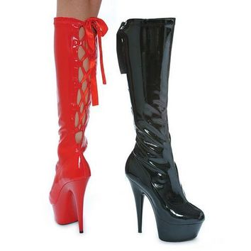 "6"" Pointed Stiletto Stretch Knee Boot W/Back Laces& Zipper."