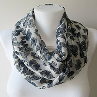 Butterfly Pattern Infinity Scarf, White Navy Blue Crinkle Chiffon Scarf, Circle Scarf, Women Loop Scarf, Fall Winter Spring Summer Fashion