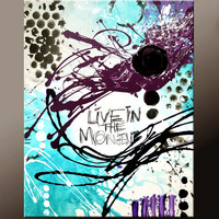 Abstract Art Canvas Painting 18x24 Contemporary Art Paintings by Destiny Womack - dWo - Live in the Moment