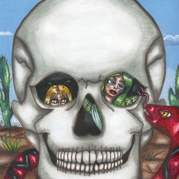 fairies hiding in skull original art print snake Desert day of the dead fantasy humor skeleton goth artwork