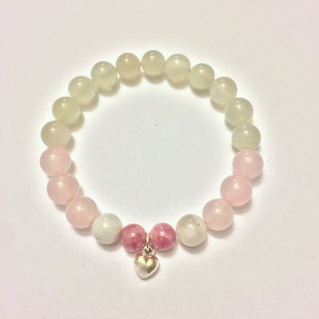 Love Bracelet ~ Genuine Rose Quartz, Rhodonite & Rainbow Moonstone Bracelet w/ Sterling Silver Tiny Heart Charm ~