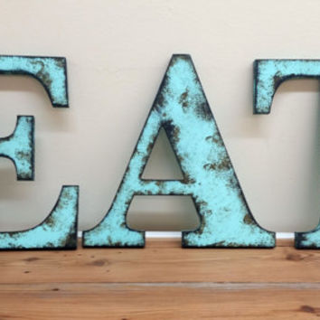 "Aqua ""EAT"" - 9 1/2"" - Rustic Distressed Letters Shabby Chic Style Photo Prop Wedding Gift Primitive Farm House Cottage Home Decor"