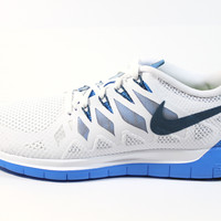 Nike Men's Free 5.0 2014 White/Blue Running Shoes 642198 142