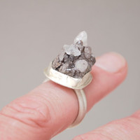 Quartz Sterling Silver Ring,   Natural Crystal  Handmade Silver Jewelry