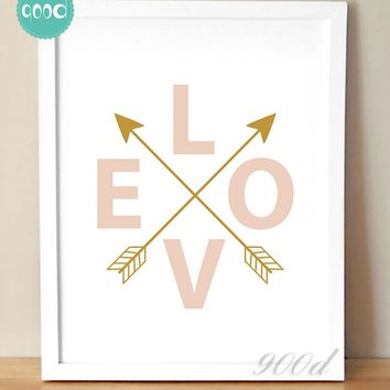 Love And Arrows Print Canvas Art Print Painting Poster,  Wall Picture for Home Decoration,  Wall Decor YE049