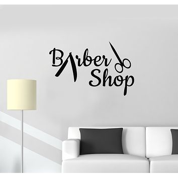 Vinyl Wall Decal Barber Shop Salon Tools Hairdresser Men's Haircut Stickers Mural (g704)