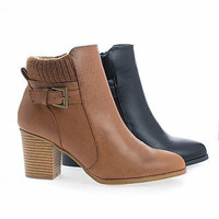 Bray01 Almond Toe Knitted Ankle Collar Stacked Block Heel Boots