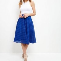 Bright Blue Mesh Stripe Midi Skirt