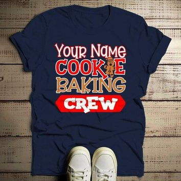 Men's Personalized Christmas T Shirt Cookie Baking Crew Matching Xmas Outfit Custom Graphic Tee