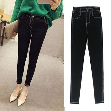 DCCKJG2 2016 New Fashion Ladies Casual Stretch Denim Jeans Leggings Jeggings Pencil Pants Thin Skinny Leggings Jeans Womens Clothing