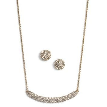 Nina Pavé Cubic Zirconia Necklace & Stud Earrings Set | Nordstrom