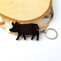 Wooden Pig Keychain, Walnut Wood, Animal Keychain, Environmental Friendly Green materials