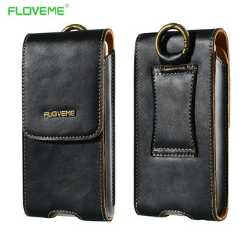 "FLOVEME For iPhone 6 6S 7 Plus Case Luxury 5.5"" Universal Genuine Leather Flip Belt Holster Pouch Case Cover for Samsung S6 S7"