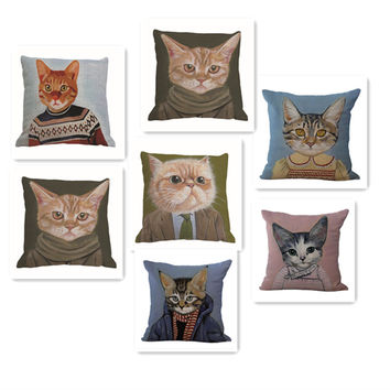 Pillow Case Creative Funny Cats Cotton Linen Square Pillow Cover Chair Pillowcase 18x18 inches Home Textile Pillowcases