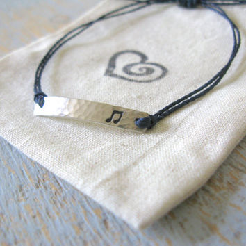 Music Note Bracelet, String Music Note Bracelet, Adjustable Silver Music Note Bracelet, Stamped Music Note Bracelet, Music Bracelet