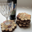 $14.99 Honeycomb Wine Cork CoasterWrapped in Brown by LizzieJoeDesigns