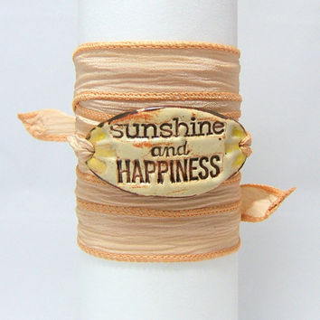 Peach Silk Wrap Bracelet ~ Hand Made Fired Ceramic Connector ~ Sunshine and Happiness ~ Hand Dyed 100% Silk Ribbon