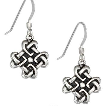 STERLING SILVER SQUARE CELTIC KNOT HEART EARRINGS ON FRENCH WIRES