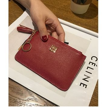 Givenchy Short section of thin zipper Japan and South Korea simple students Europe and the United States wild ultra-thin coin purse package