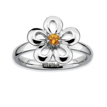 Silver Stackable 13mm 1/10 Carat Citrine Flower Ring