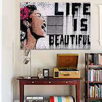 The Life Is Beautiful By Banksy Canvas Print 12 x 18 x 0.75 in Multi