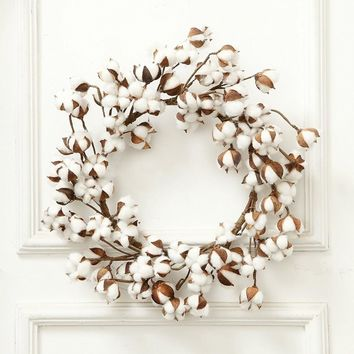 Artificial Dried Cotton Wreath, Cotton Door Wreath