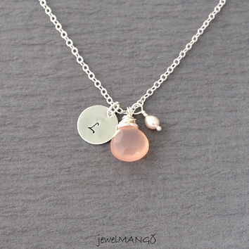 light pink gem initial necklace, bridesmaid gifts, Wedding jewelry,cotton candy,Hand stamped personalized initial necklace, freshwater pearl